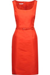 Oscar De La Renta Belted Silk Satin Twill Dress Bright Orange
