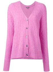 N.Peal Oversize Box Cable Cardigan Pink Purple