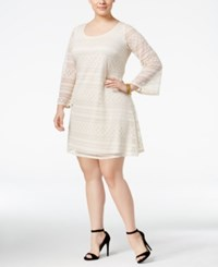 Love Squared Plus Size Bell Sleeve Lace Peasant Dress Ivory