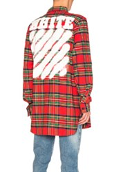 Off White Diagonal Spray Check Shirt In Red Checkered And Plaid Red Checkered And Plaid