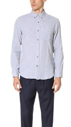 Club Monaco Slim Button Down Double Face Shirt Heather Grey