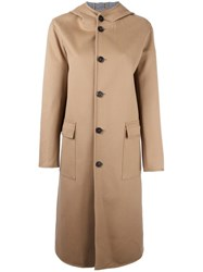 Mackintosh Flap Pockets Hooded Coat Nude Neutrals
