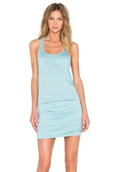 Michael Stars Scoop Neck Shirred Racerback Dress Blue