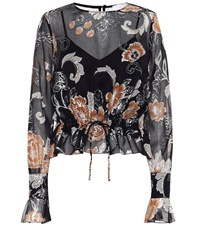 See By Chloe Printed Silk And Cotton Blouse Black