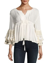 Raga Sun Goddess Crochet Trim Blouse White
