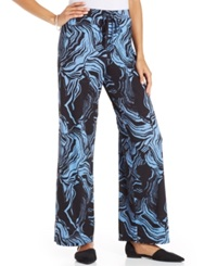 Style And Co. Drawstring Printed Wide Leg Pants Geo Marble