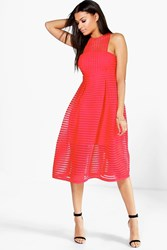 Boohoo Leah Shaped Neck Prom Dress Red
