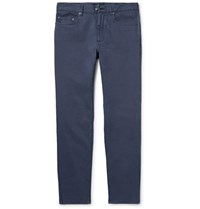 Hackett London Slim Fit Brushed Stretch Cotton Twill Trousers Navy