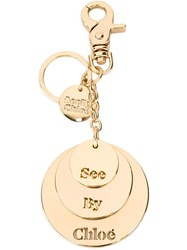 See By Chloa Logo Plaque Keyring Metallic