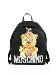 Moschino Teddy Bear Quilted Nylon Backpack Black Multi