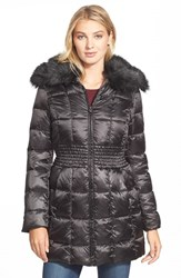 Women's Laundry By Shelli Segal Faux Fur Collar Ruched Waist Down And Feather Fill Coat Black