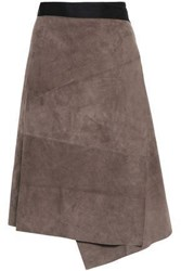 Amanda Wakeley Woman Two Tone Suede Skirt Taupe
