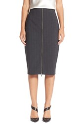 Halogen Zip Front Pinstripe Pencil Skirt Gray