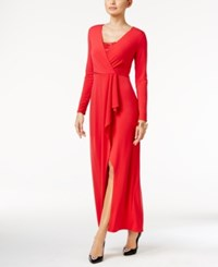 Thalia Sodi Draped Lace Trim Gown Only At Macy's Lipstick Red