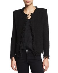 Iro Shavani Open Front Boucle Jacket Black Women's Size 40
