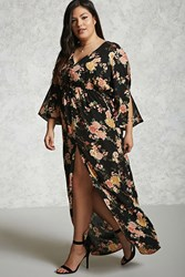Forever 21 Plus Size Floral Maxi Dress Black Pink