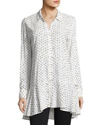Neiman Marcus Dotted Flutter Tunic Blouse White Black