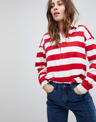Evidnt Stripe Rugby Shirt Red White Stripe Multi