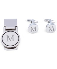 Bey Berk Men's Monogrammed Cuff Links And Money Clip Set