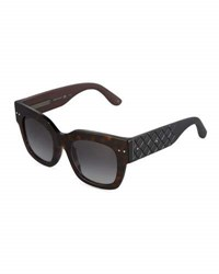 Bottega Veneta Two Tone Square Havana Plastic Sunglasses Brown