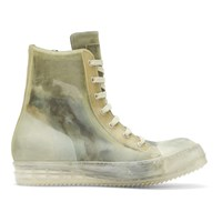 Rick Owens Green And Transparent High Top Sneakers