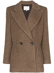 Tibi Double Breasted Herringbone Blazer Brown