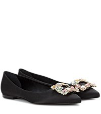 Roger Vivier Satin Ballerina Shoes Black