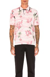 Junya Watanabe Thin Cotton And Wool Jersey Aloha Pattern Print Polo In Pink Floral Animal Print Pink Floral Animal Print