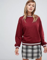 Monki Crew Neck Sweatshirt In Burgundy Red
