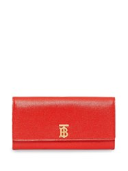 Burberry Monogram Motif Grainy Leather Continental Wallet Red