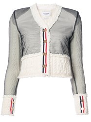 Thom Browne Inside Out V Neck Tailored Cardigan In White Knit Aran Cable Shetland Wool Nylon Wool