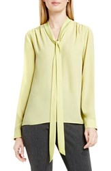 Vince Camuto Women's Long Sleeve Tie Neck Blouse Shadow Green