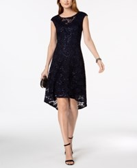Connected Sequined Lace High Low Dress Navy