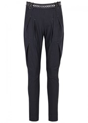 High Lurch Navy Pinstriped Jersey Trousers Black And White