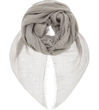 Jane Carr Sheer Fray Cashmere Scarf Silver