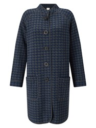 East Checked Hooded Knit Coat Multi Coloured Multi Coloured