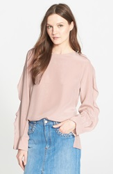 See By Chloe Ruffle Detail Long Sleeve Crepe De Chine Blouse Blush