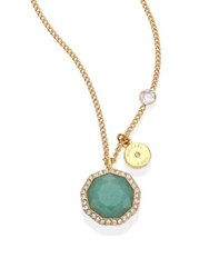 Michael Kors Urban Rush Green Jade Crystal And Goldtone Stainless Steel Pendant Necklace