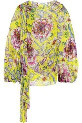 Prabal Gurung Knotted Floral Print Silk Georgette Blouse Yellow