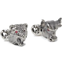 Deakin And Francis Bull Bear Sterling Silver Ruby Cufflinks Silver