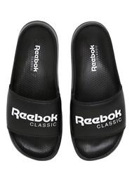 Reebok Classics Embossed Logo Faux Leather Slide Sandals