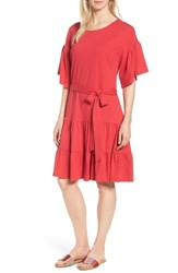 Bobeau Drop Waist Ruffle Cotton Dress Red Lipstick
