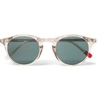 Oliver Spencer William Round Frame Acetate And Silver Tone Sunglasses Gray