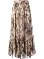 Valentino Butterfly Print Pleated Skirt Nude Neutrals