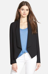Cece By Cynthia Steffe Shawl Collar Crepe Jacket Rich Black
