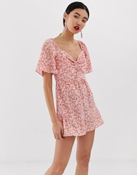 Lost Ink Bardot Playsuit With Ruffle Legs In Ditsy Multi