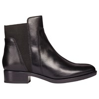 Geox 'S Felicity Flat Block Heel Ankle Boots Black Leather