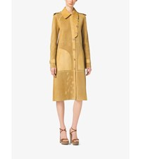 Perforated Bonded Suede Trench Coat Straw