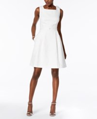 Ellen Tracy Petite Embellished Textured Fit And Flare Dress Ivory
