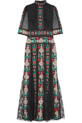 Costarellos Pleated Embroidered Lace Gown Black